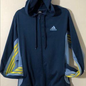 Adidas Torment Zip Hoodie Blue Yellow 3 Stripe